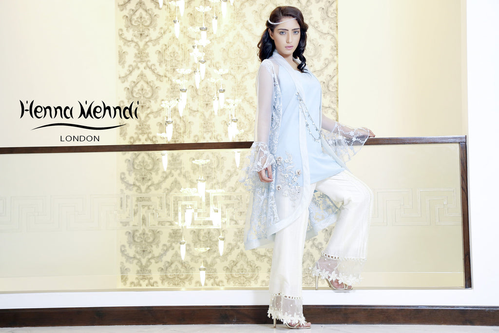 Ice Blue Embroidered Jacket Outfit - Henna Mehndi