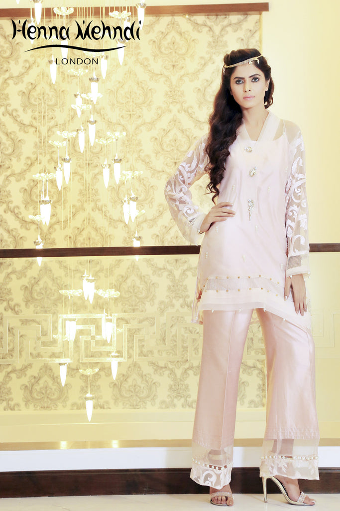 Pink Embroidered And Embellished Outfit - Henna Mehndi