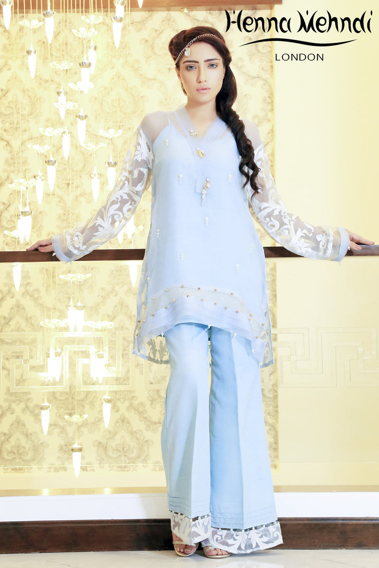 Ice Blue Embroidered & Embellished Outfit