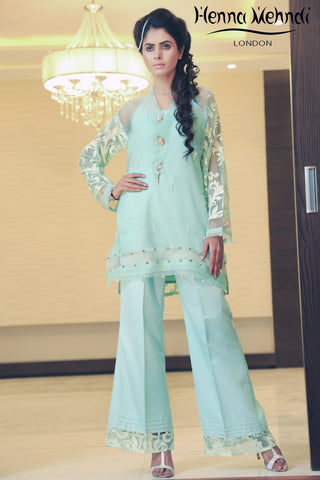 Mint Embroidered & Embellished Outfit
