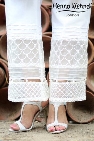 White Embroidered Boot Cut Trousers