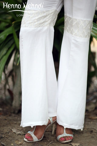 White Embroidered Gharara Trousers