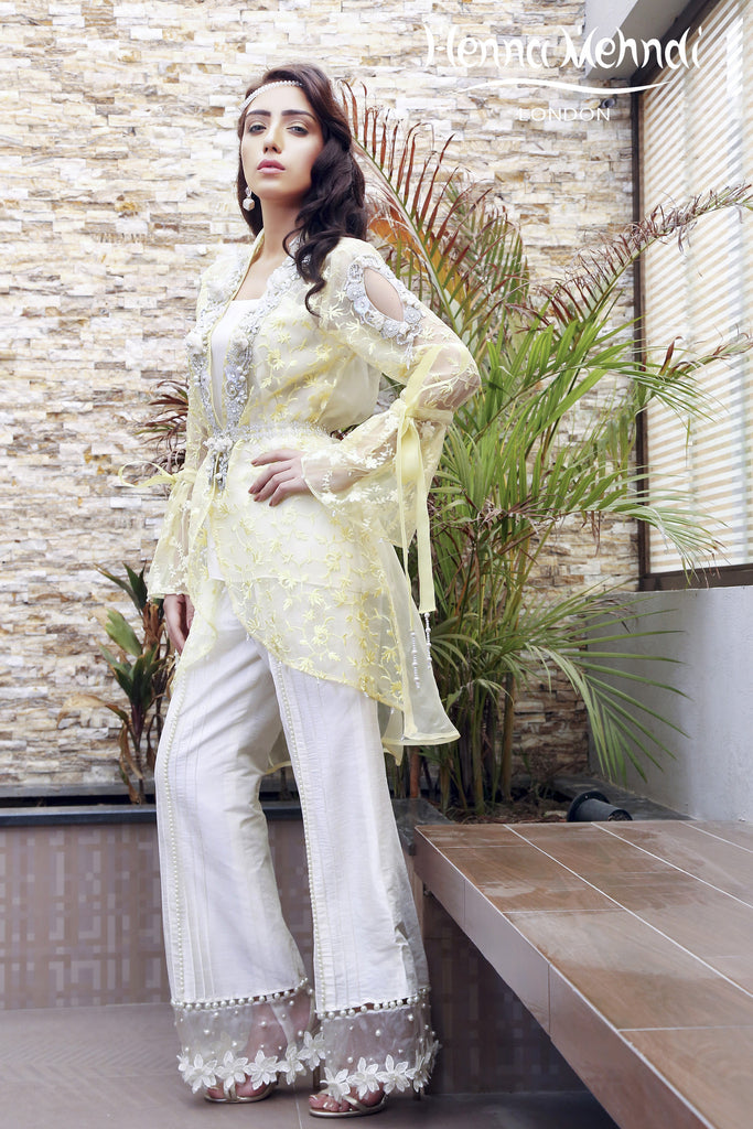 Lemon Embroidered & Embellished Jacket Outfit