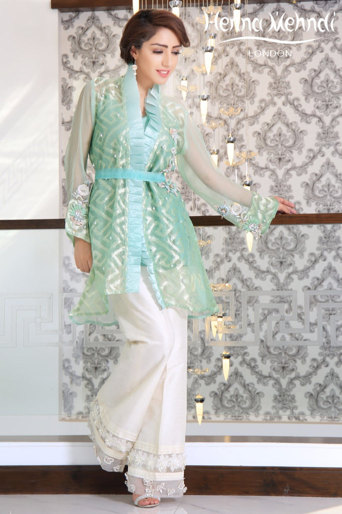 Mint Embroidered & Embellished Jacket Outfit - Henna Mehndi