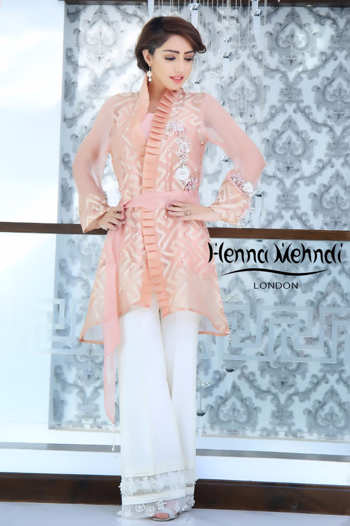 Tea Pink Embroidered & Embellished Jacket Outfit - Henna Mehndi
