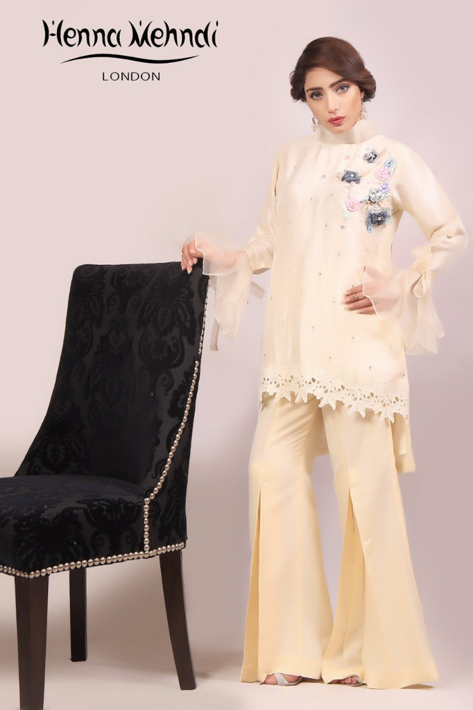 Cream Ribbon Embroidered Outfit - Henna Mehndi