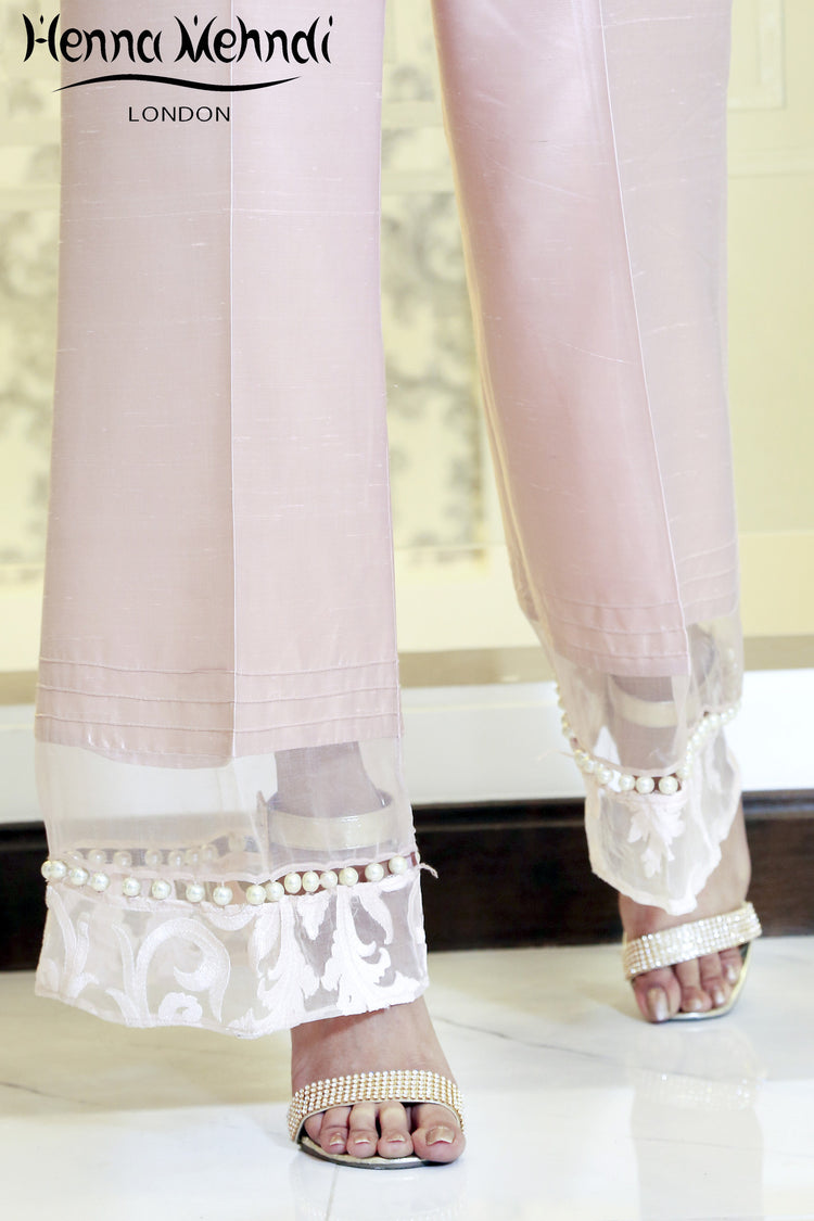 Pink Embroidered & Embellished Trousers