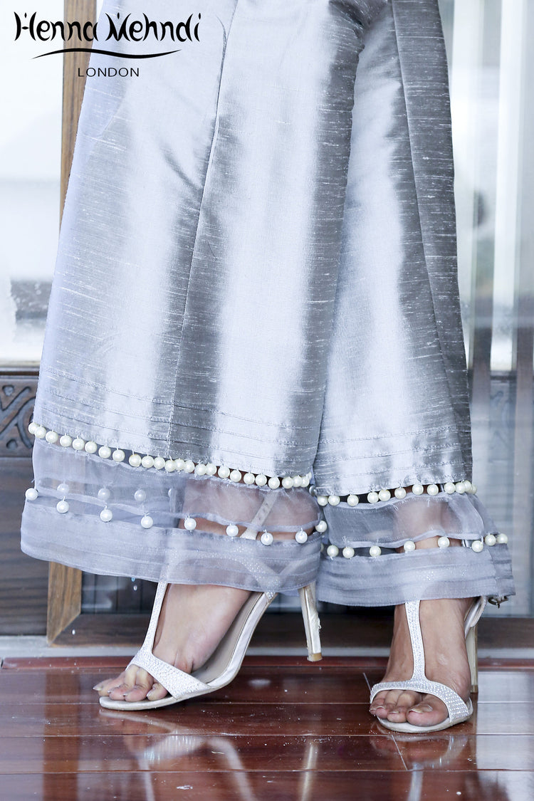 Grey Embellished Trousers