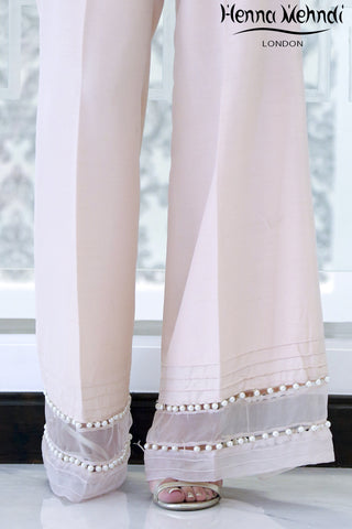 Nude Pink Embellished Trousers