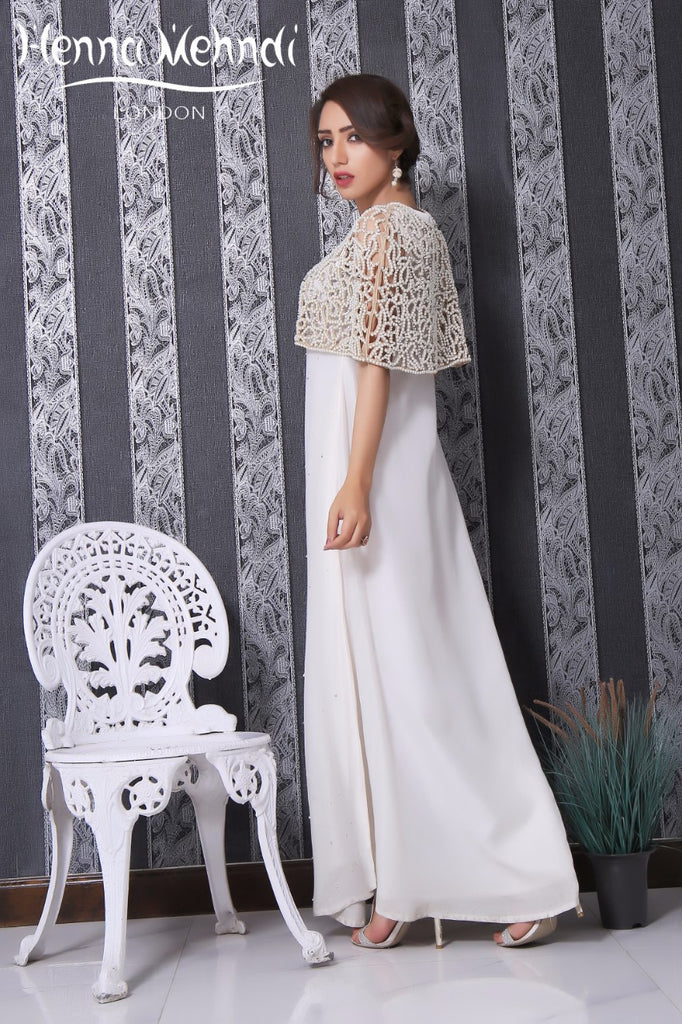Ivory Pearl Embroidered Cape Outfit
