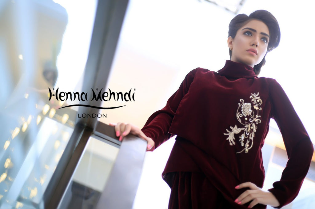Maroon Velvet Embroidered Jacket Outfit