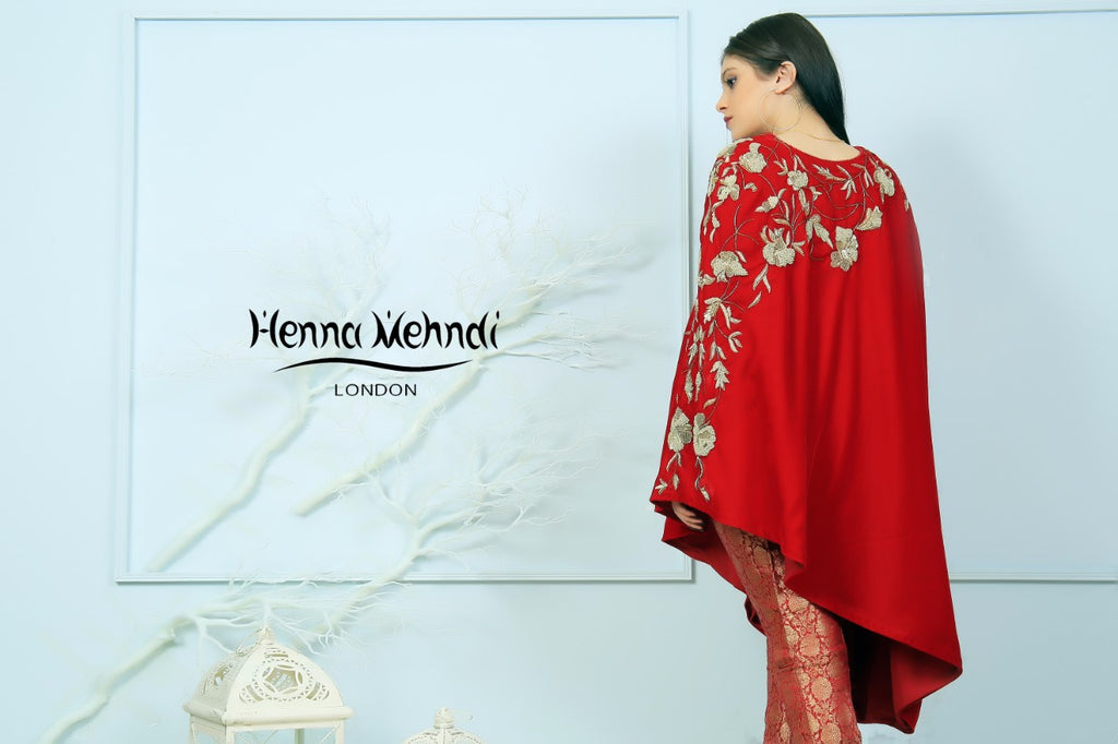 Red Velvet Embroidered Cape - Henna Mehndi