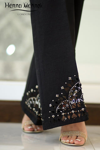 Black Raw Silk Embellished Cutwork Trousers