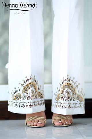 White Raw Silk Embellished Cutwork Trousers