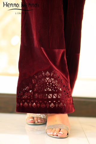 Velvet Cutwork Trousers