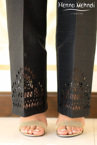 Black Raw Silk Cutwork Trousers