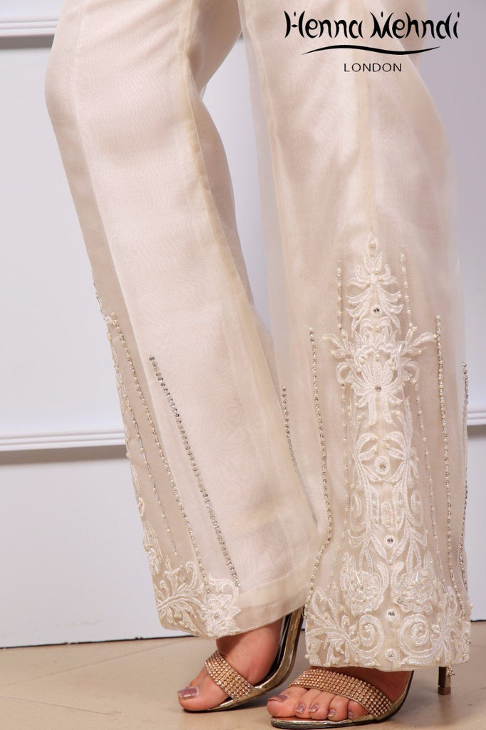 Ivory Diamante Embroidered Trousers