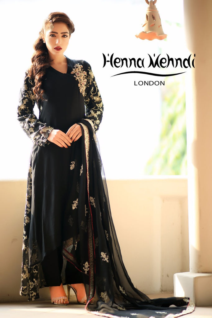Black Diamante Embroidered Outfit - Henna Mehndi