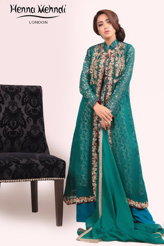 Green Diamante & Sequinned Embroidered Outfit