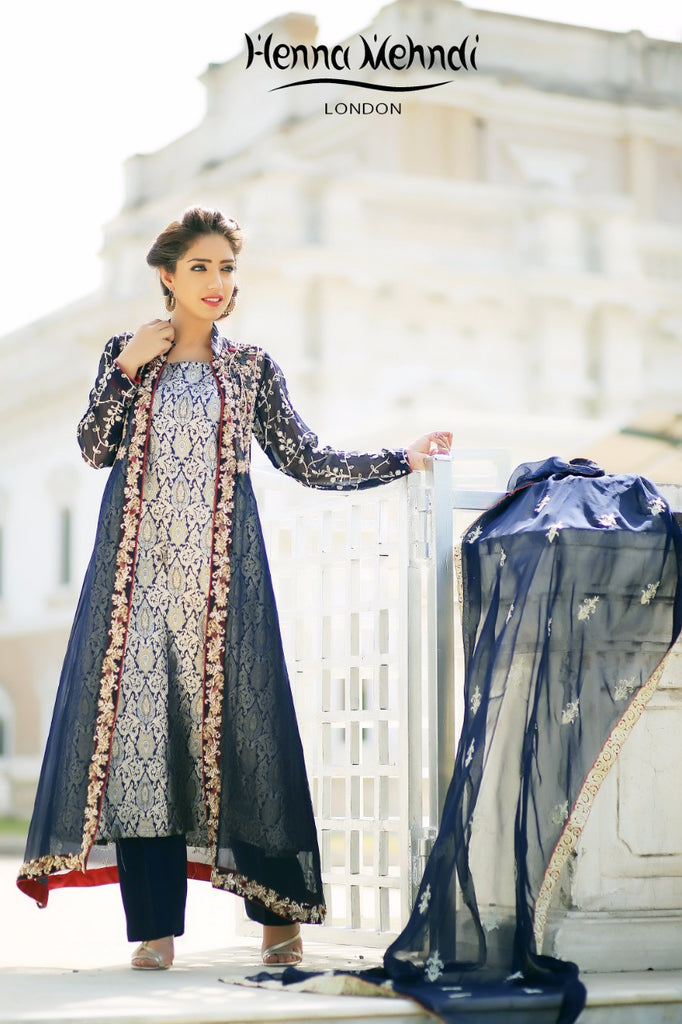 Navy Diamante & Sequinned Embroidered Outfit - Henna Mehndi