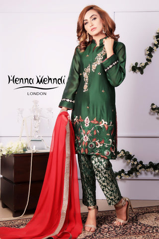 Emerald Green Diamante Embroidered Outfit