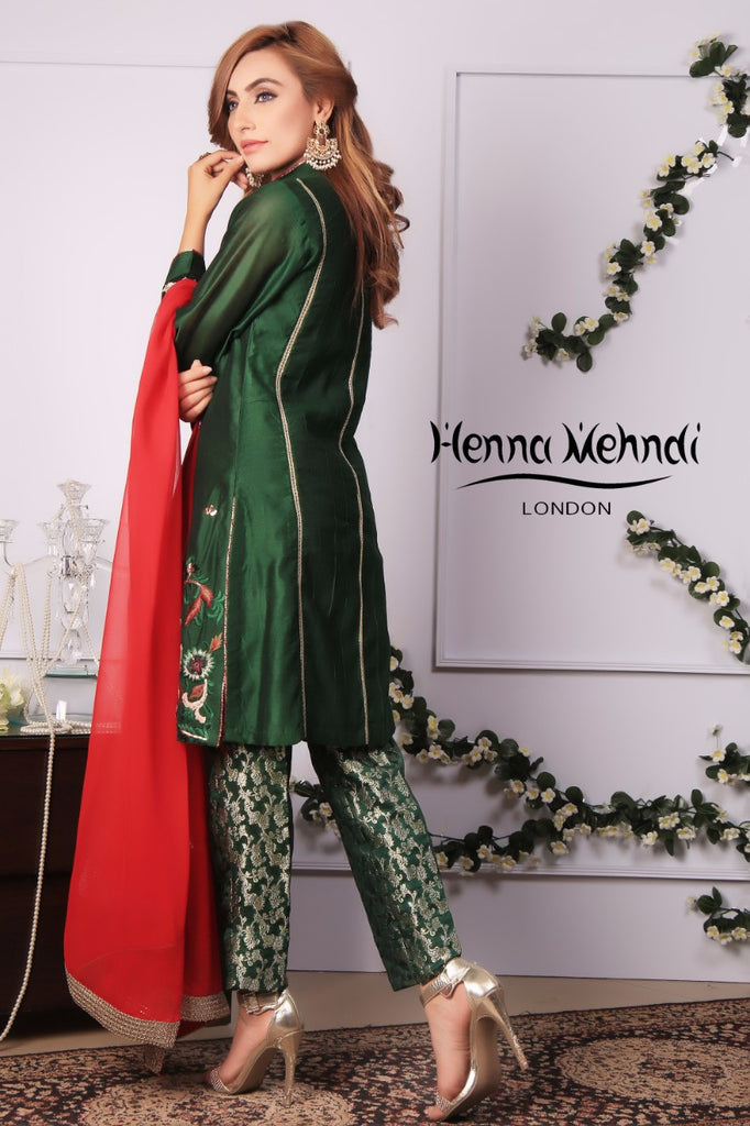 Emerald Green Diamante Embroidered Outfit - Henna Mehndi