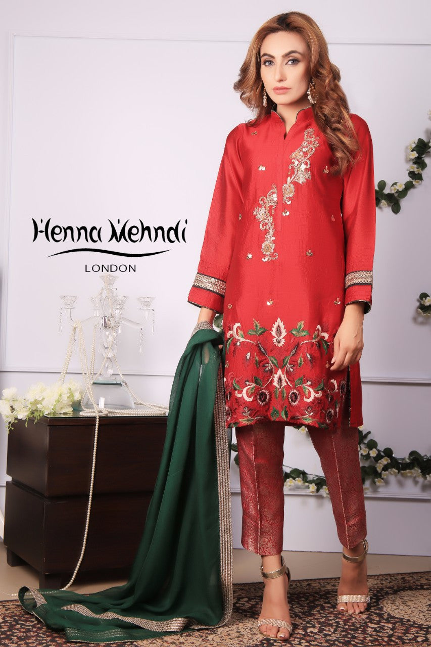 Red Diamante Embroidered Outfit