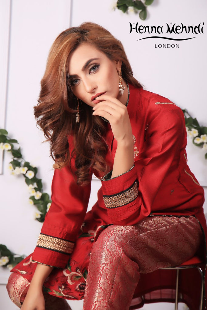 Red Diamante Embroidered Outfit - Henna Mehndi