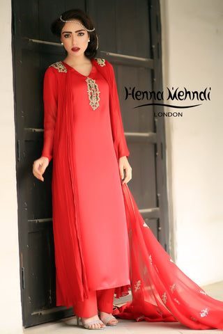 Red Diamante Embroidered Gown Outfit