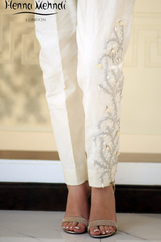 Cream Karandi Embroidered Trousers