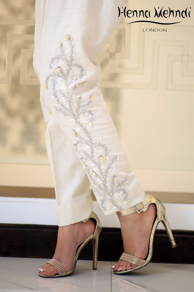 Cream Karandi Embroidered Trousers - Henna Mehndi