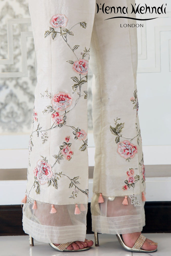 Ivory Diamante Embroidered & Embellished Trousers