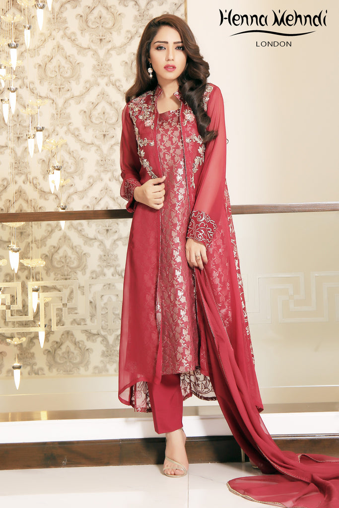 Maroon Chiffon Diamante & Sequinned Embroidered Gown Outfit