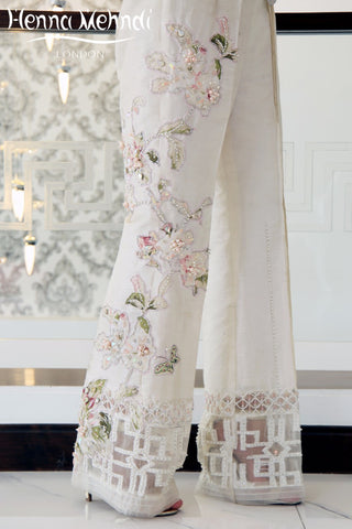 Ivory Crystal Embroidered & Embellished Trousers