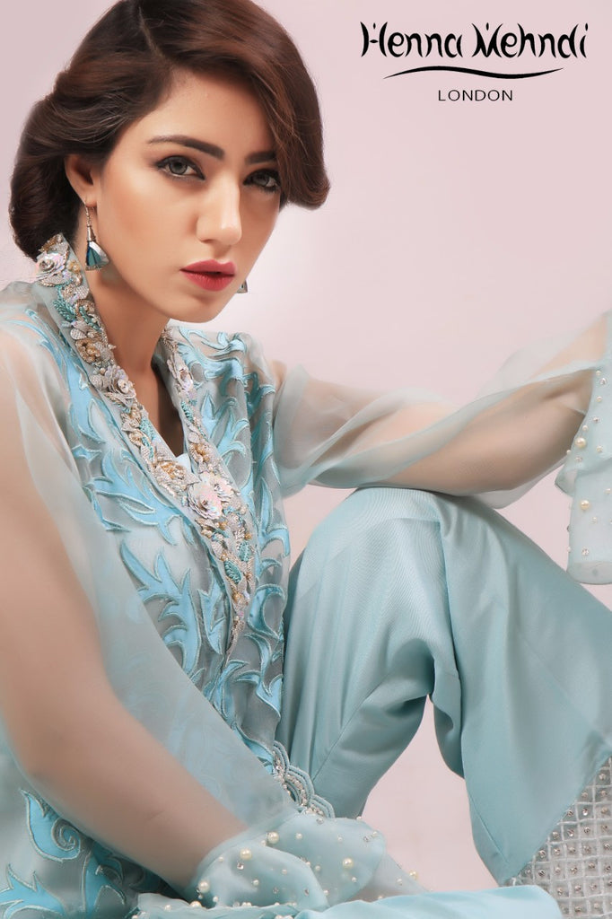 Teal Embroidered & Embellished Jacket Outfit - Henna Mehndi