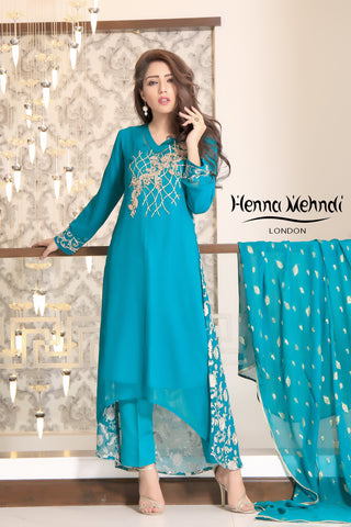Sea Green Diamante & Sequinned Embroidered Chiffon Outfit