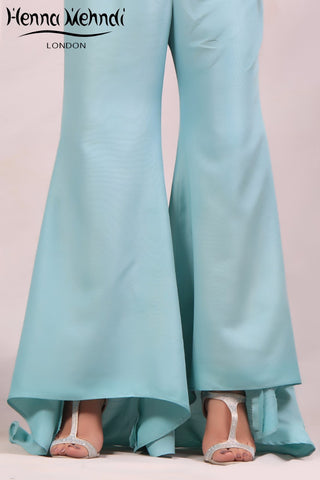 Teal Flared Trousers