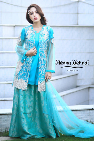 Aqua Pearl And Diamante Embroidered Evening Outfit