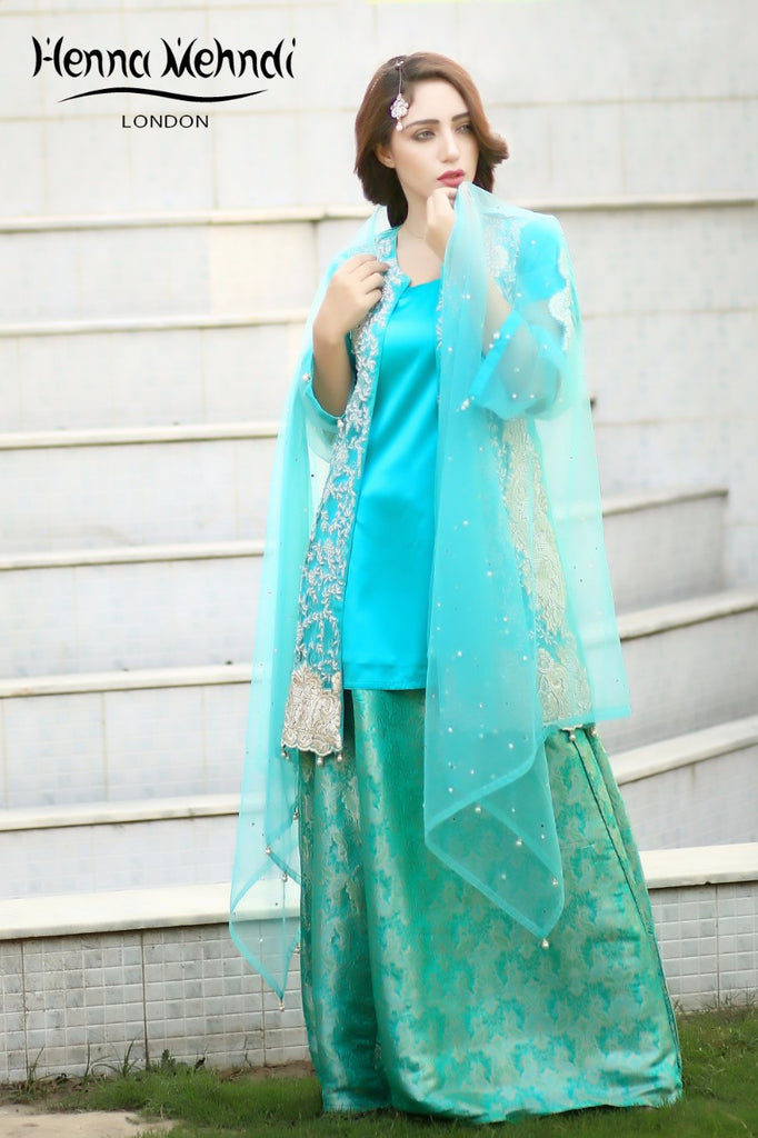 Aqua Pearl And Diamante Embroidered Evening Outfit - Henna Mehndi