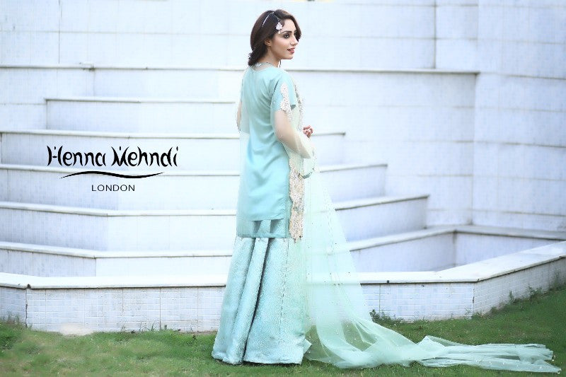 Pistachio Pearl And Diamante Embroidered Evening Outfit - Henna Mehndi