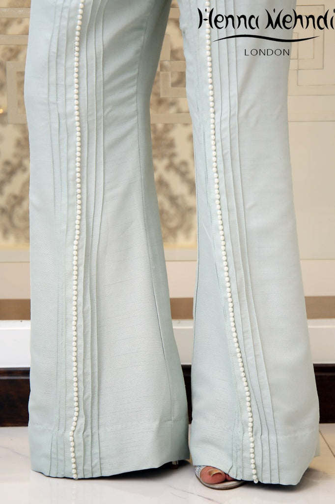 Light Blue Pearl Embellished Trousers