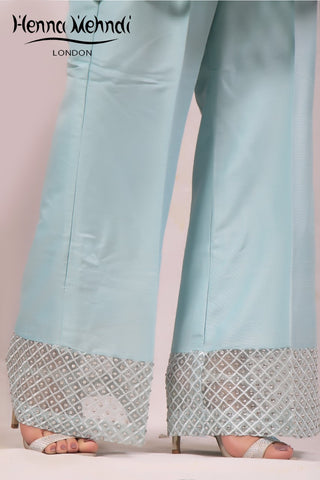 Teal Embellished Trousers