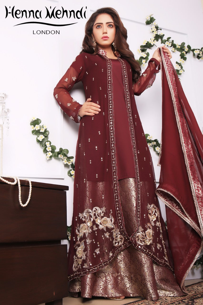 Plum Diamante Embroidered Gown Outfit