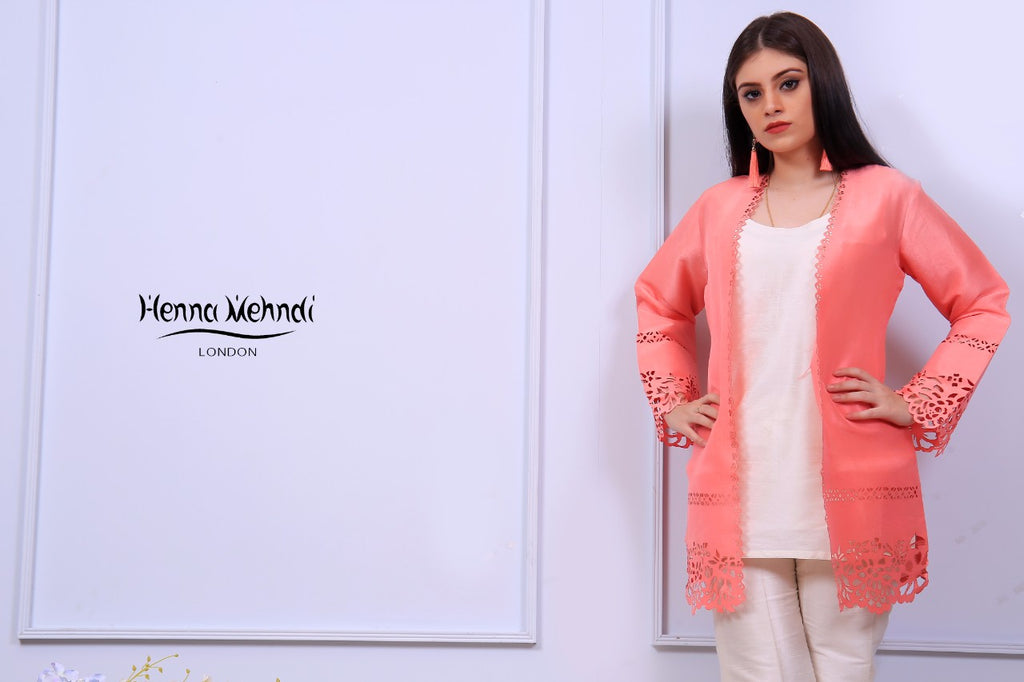Coral Laser Cut Jacket Outfit - Henna Mehndi