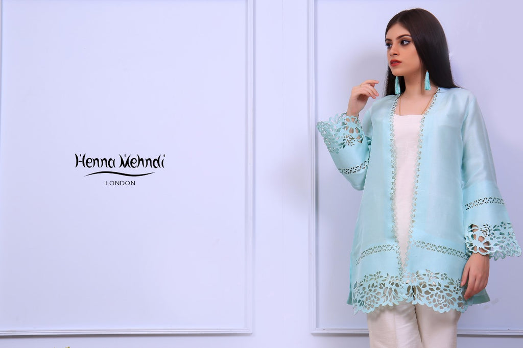 Mint Laser Cut Jacket - Henna Mehndi
