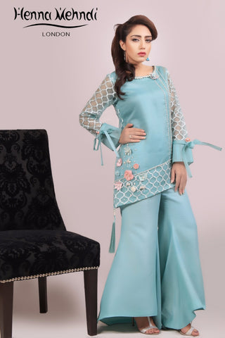 Teal 3D Flower Embellished Outfit