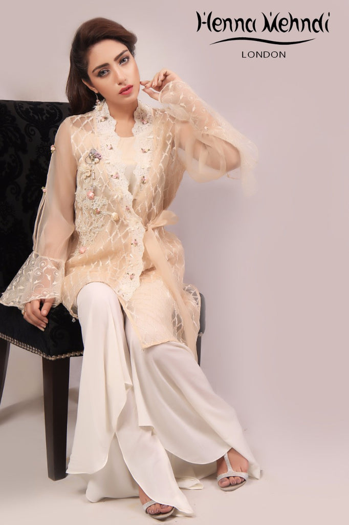 Beige Embroidered & Embellished Jacket Outfit - Henna Mehndi