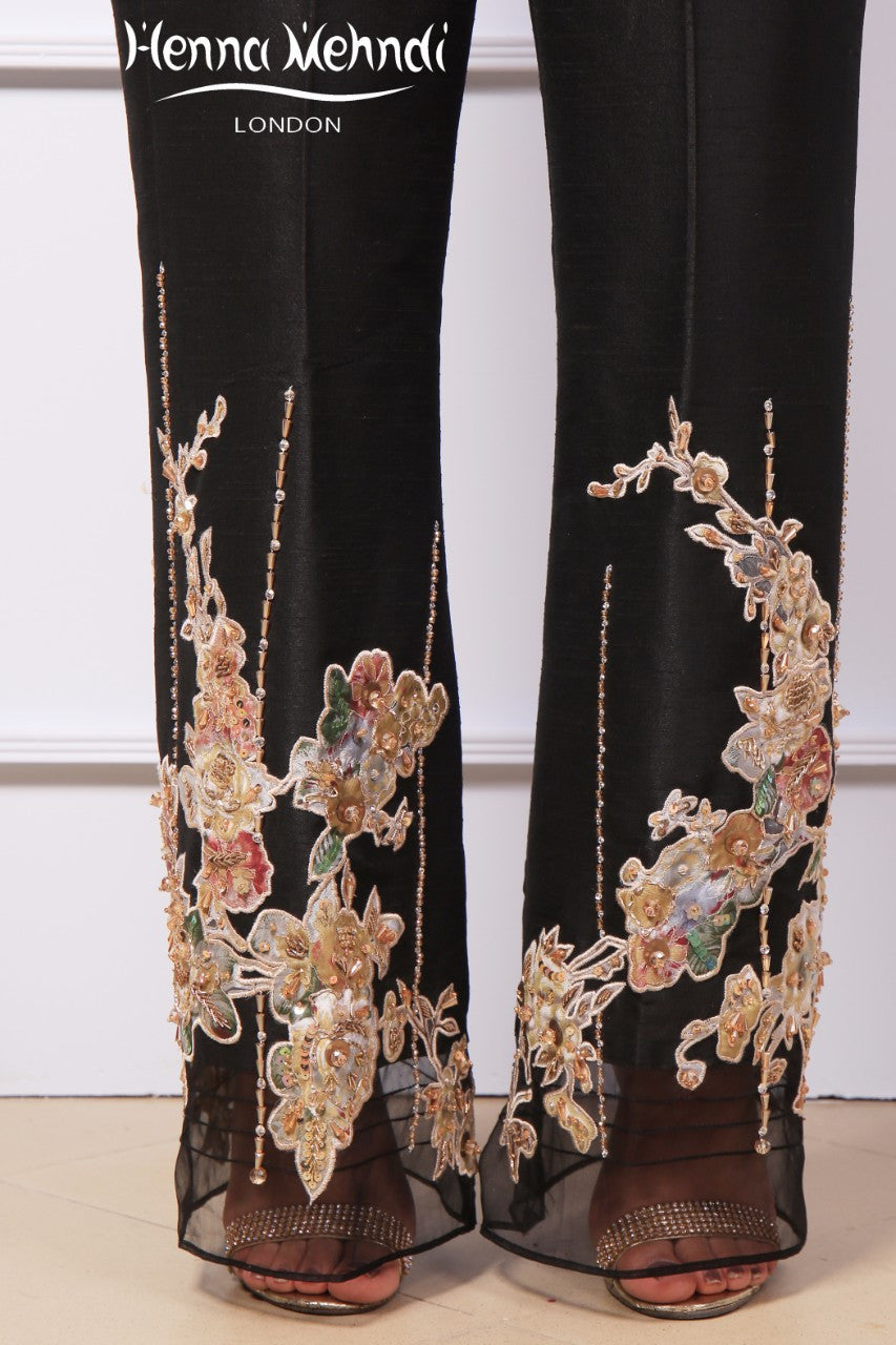 Black Diamante Embroidered & Embellished Trousers