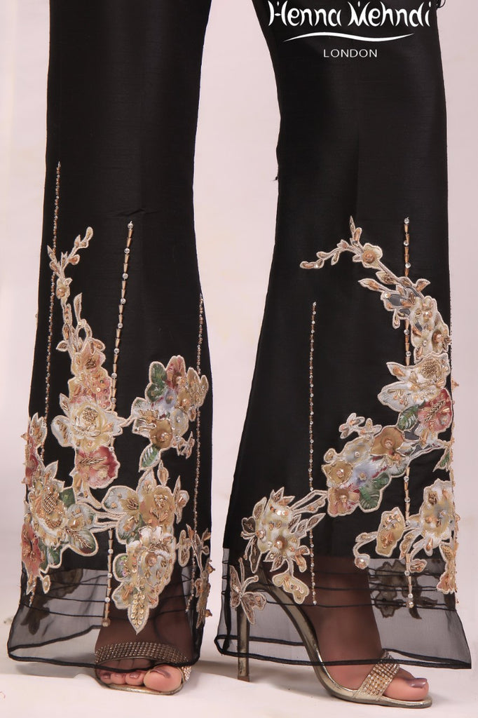 Black Diamante Embroidered & Embellished Trousers - Henna Mehndi
