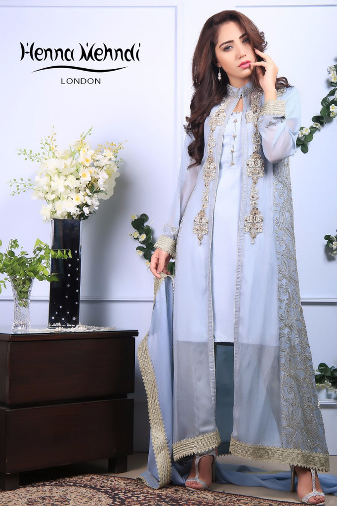 Grey Diamante Embroidered Gown Outfit - Henna Mehndi